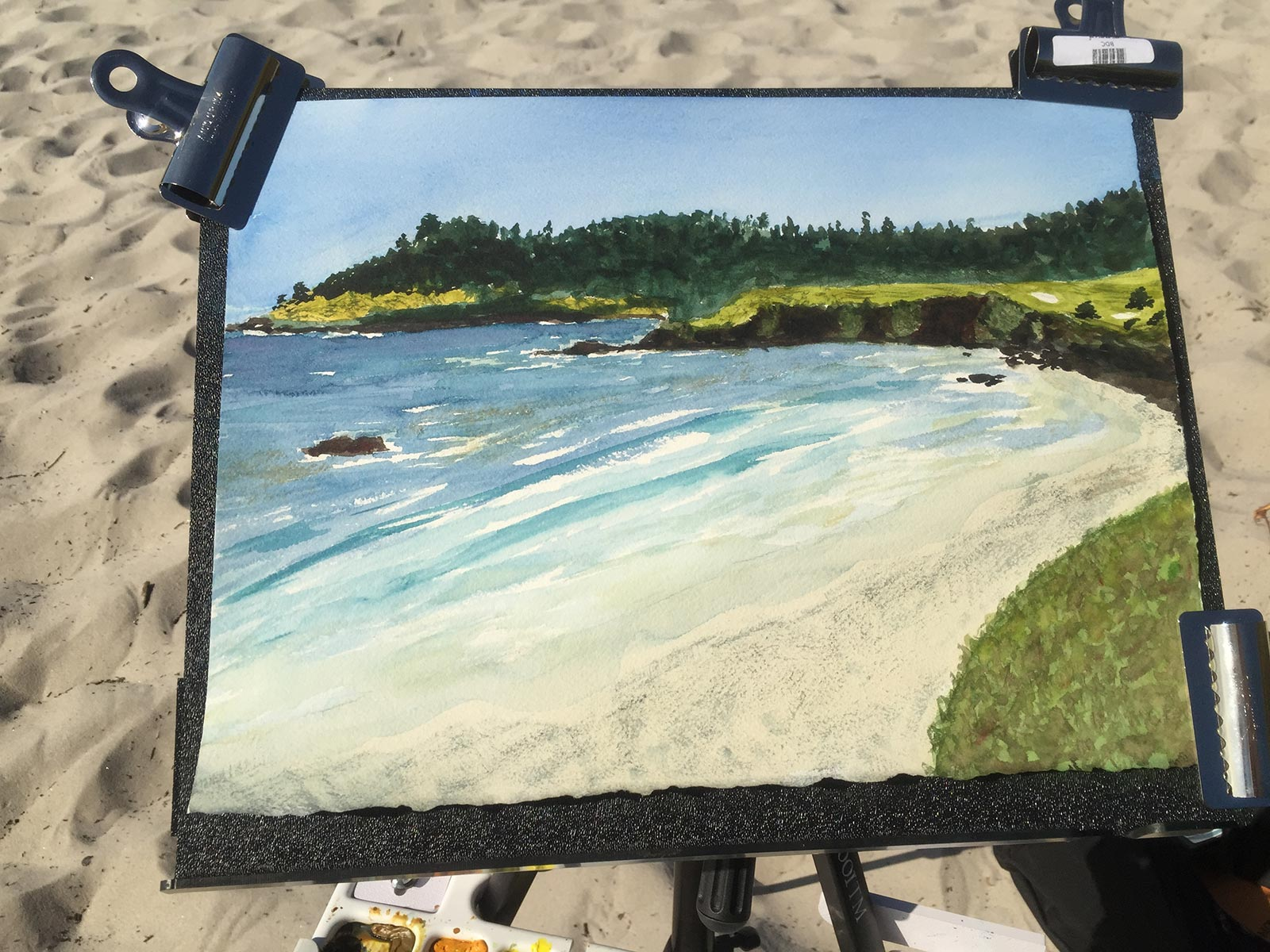 """Pebble Beach from Carmel,""  Timothy Malone, plein air watercolor painting, 11"" x 15"", April, 2015."
